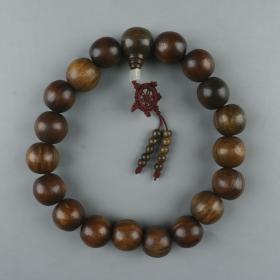 阴刻佛字、佛像檀木带眼大珠十八籽佛串 一件(单珠直径约2.2cm)HXTX223877