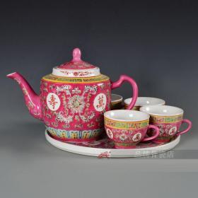 景德镇万寿无疆瓷器手绘红绿黄蓝茶具茶杯6头套装陶瓷茶壶一套拍卖,三种颜色,任选一款!按你所选发货!