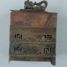 民国 铜三层印泥盒及虎纽铜印套组 一件(高10.2cm*8*8cm;底款:京辰;印文:永兴郡印) HXTX226222