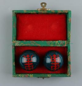 八十年代初 出口创汇 掐丝珐琅福寿纹健身球 一对 带原盒一件(转动球体可听见清脆声响,直径约为4cm)HXTX226984