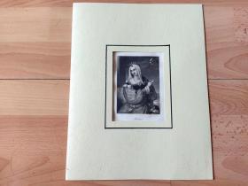 1836年钢版画《丽人画廊:月空下的思念,碧翠丝公主》(Beatrice)-- 出自19世纪著名奥地利女性肖像画家,约翰·内波穆克·安德(Johann Nepomuk Ender,1793–1854)的油画作品 -- 雕刻师:Franz Xaver Stoder(1795-1858)-- 德国莱比锡丽人画廊出版 -- 卡纸画框30*23厘米,版画纸张20*12.5厘米