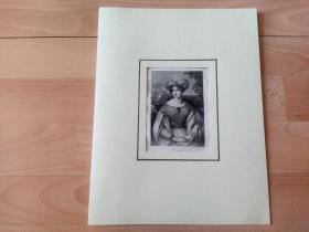 1836年钢版画《丽人画廊:异域风情》(Anastasia)-- 出自19世纪著名奥地利女性肖像画家,约翰·内波穆克·安德(Johann Nepomuk Ender,1793–1854)的油画作品 -- 雕刻师:Franz Xaver Stoder(1795-1858)-- 德国莱比锡丽人画廊出版 -- 卡纸画框30*23厘米,版画纸张20*12.5厘米