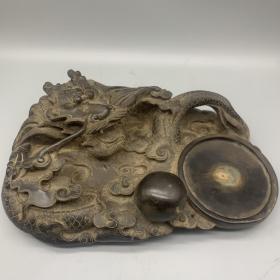 老石雕带字龙纹大砚台 尺寸:33*23*10cm 重量:6.35kg
