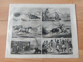 1848年钢版画《世界近代史图版35:世界各民族的传统习俗和风土民情》(Traditional customs)-- 图中含北极的爱斯基摩人捕鲸者、弯弓射雕的非洲土著、马背上的游牧民族、非洲原始舞蹈等 -- 版画纸张30*24厘米