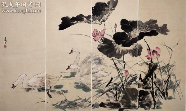 中國美術家協會理事【王雪濤】通景 四條屏