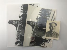 【抗美援朝文献】周恩来、陈毅等访问埃塞俄比亚原版照片及毛泽东原版标准照一张,共三张合拍(珍贵,尺寸及品相如图)【191225A 19】