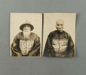 清代 诰命大夫及夫人照片两张(尺寸:14.7*10.7cm*2)HXTX310186