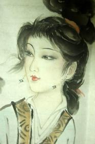 【现当代画家参展,笔会及藏家交流作品,所有拍品,保证纯手绘,发现印刷,赔偿10倍】------------北京画家-------【白伯骅】《采莲图》