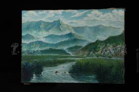著名画家、美术教育家、曾任北京艺专教授 穆家麒 1988年油画作品《慕田峪》 一幅 HXTX317519