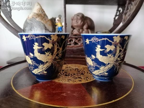 寶石藍金孔雀玉蘭品茗杯 一對