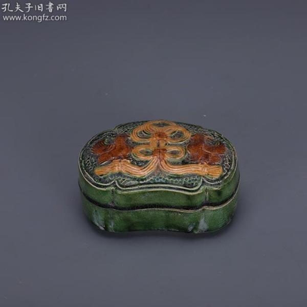 唐三彩,雕刻鸳鸯粉盒
