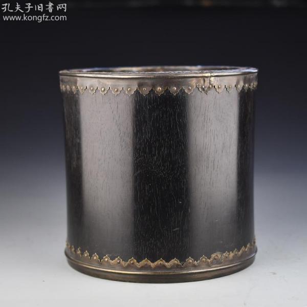 清 紫檀木包铜边牛毛纹大号笔筒