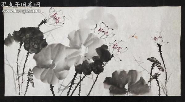 14-30已故四川著名畫家【許懷世】家中流出,花鳥畫軟件,尺寸:138*70厘米,無章款