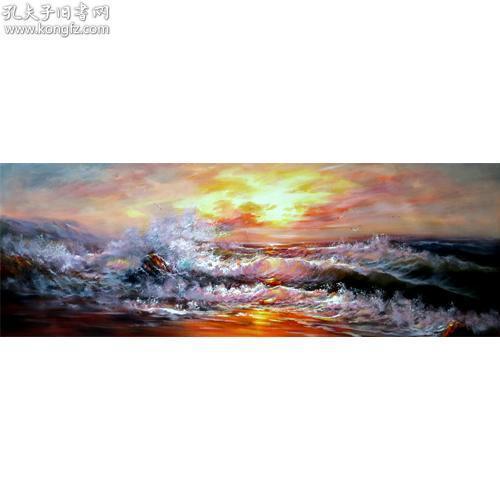 純手繪布面油畫 吉林藝術學院本科 職業藝術畫家 劉健-海之韻系列7-153X53CM
