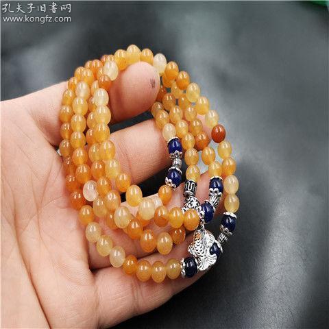 天然新疆金丝玉6毫米108颗圆珠手链手串  特殊拍品产地直发一单一快递!