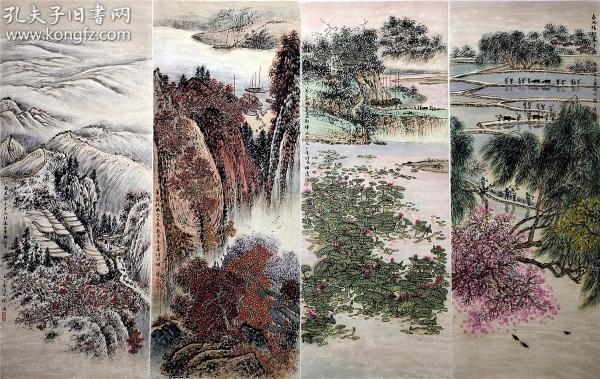 中國畫研究會副會長【陶一清】四季山水圖 四條屏