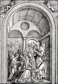 """""""巨幅丢勒名画""""1910年复刻版""""丢勒Albrecht Dürer""""系列木刻版画—《圣家庭与俩天使》48x34cm 原尺寸复刻"""