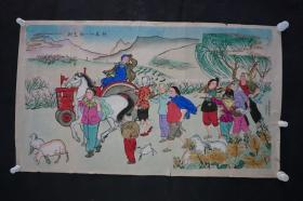 1950-1960年代 张福龙 作 《朝气蓬勃忙春耕》 杨柳青木板年画一张  HXTX309011