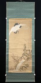 【全场包邮】原装旧裱 边景昭(款) 梅鹤图 武英殿 纸本立轴一件(书画回流精品)
