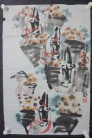 kw85h20 著名画家、中国工艺美术学会理事张云翔 国画作品一幅,纸本软片,尺寸约47*44厘米 !