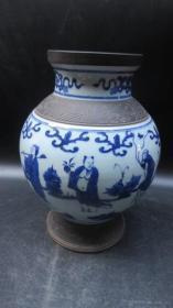 八仙神仙画青花瓷瓶一个19121127