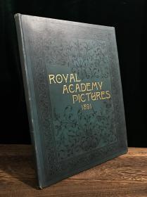 【1891年英文超大开烫金古董书,24X32.5CM】《Royal Academy Pictures》绝佳品相,绝美插画