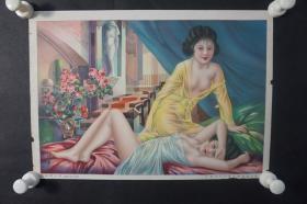 民国 杭穉英绘 美女月份牌年画一张  HXTX309088