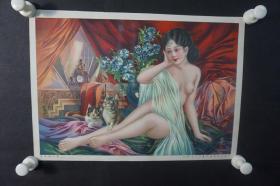 民国 杭穉英绘 美女月份牌年画一张  HXTX309087