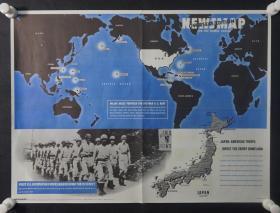 抗战时期援华美军《地图新闻报》(NESMAP)内容为:美国海军基地主要分布图等  HXTX309048