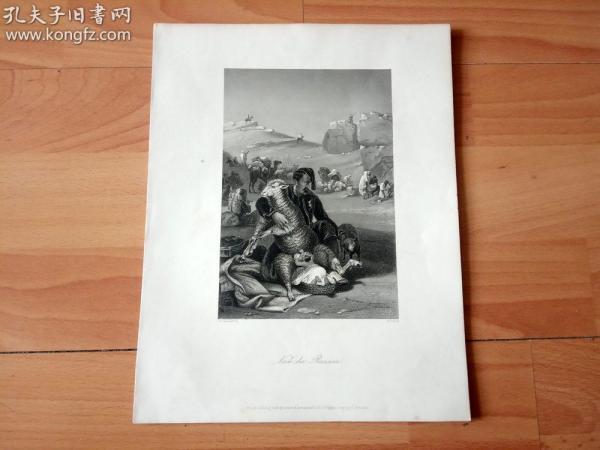 19世纪钢版画《劫掠之后》(Nach der Razzia)-- 纸张尺寸27*21厘米