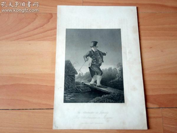 19世纪钢版画《战战兢兢走过独木桥的校长》(Der Schulmeister in Aengsten)-- 纸张尺寸24.6*16.7厘米