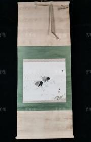 """【日本回流】吴川 水墨画""""农忙图""""一幅 (纸本立轴,画心约1.4平尺,钤印:古衣庵) HXTX308706"""