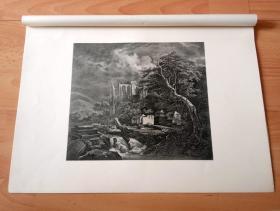 1877年高清照相法压印版《古老的犹太教堂墓地》(DER JUDENKIRCHHOF)-- 出自17世纪荷兰最有名的风景画家,雅各布·凡·雷斯达尔(JACOB VAN RUISDAEL)的艺术作品,原作珍藏于德国德累斯顿艺术画廊 -- 选自德国斯图加特出版的《经典绘画作品集,荷兰与西班牙卷》 -- 纸张尺寸46.2*33.2厘米