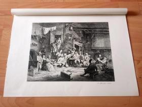1877年高清照相法压印版《乡村舞会》(BAUERNTANZ)-- 出自17世纪荷兰黄金时代乡村风俗画家,阿德里安·范·奥斯塔德(ADRIAEN VAN OSTADE)的艺术作品 -- 选自德国斯图加特出版的《经典绘画作品集,荷兰与西班牙卷》 -- 纸张尺寸46.2*33.2厘米