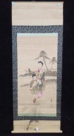 【日本回流】原装旧裱 宝泉 水墨人物画作品一幅(纸本立轴,画心约4.4平尺,钤印:宝泉)HXTX308826
