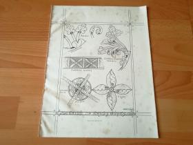 【1】1862年木版雕刻《12世纪坎特伯雷大教堂木雕图案,英格兰》(the Canterbury Cathedral)---28.5*22厘米,--凸版艺术协会年刊