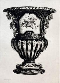 1877年法国蚀刻铜版画《法国皇家塞夫勒Sèvres官窑瓷器》—  版画家:Jules Jacques 雕刻 法国ARCHES版画专用水印纸 43x30cm