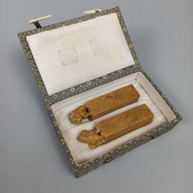 开国大校 张宗文 石刻藏书印章一对两枚 附盒(印章为张宗文印,宗文藏书) HXTX310544