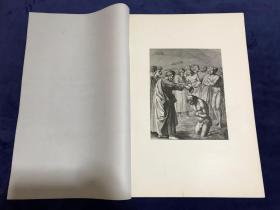 1876年高清照相版《圣彼得为年轻人施洗》—意大利文艺复兴绘画的奠基人马萨乔(Masaccio,1401-1428年)作品 45.2*31.4厘米