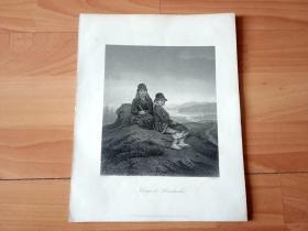 19世纪钢版画《挪威牧童》(Normegische Hirtenknaben)-- 纸张尺寸27*21厘米