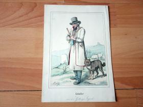 19世纪钢版画《德国哥廷根地区的牧羊人》(Sch?fer aus der G?ttinger Gegend)-- 手工上色 -- 出自19世纪德国画家雨果·穆利格(Hugo Mühlig)的艺术作品 -- 纸张尺寸21*14.3厘米