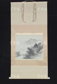 【日本回流】原装旧裱 溪月山水水墨画《山村》一幅带盒(绢本立轴,约1.9平尺)HXTX308891