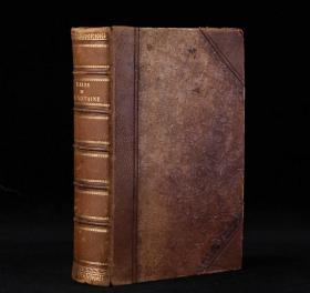 1838年《拉封丹寓言》!插图本!棕色皮质书脊,竹节书脊!书面精美雕花装饰! Grandville多幅全页插画!