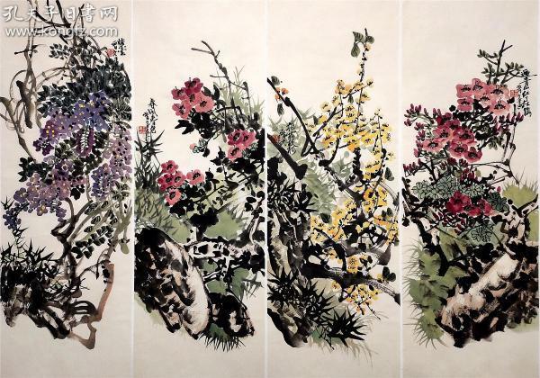 云南省美術家協會主席【王晉元】花卉 四條屏