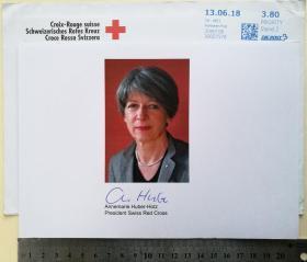 瑞士历史上第一位女性联邦总理(2000-2007)、联邦国务秘书长(2000-2007)、政府幕僚首长(2000-2007) 、瑞士红十字会主席(2011-2018)、红十字会与红新月会国际联合会副主席(2011-2018)、联邦议会秘书长(2007-2011)、瑞士银行申诉专员基金会前主席、安内马里·胡贝尔-霍茨(Annemarie Huber-Hotz)、官方亲笔签名照1张(已逝、珍贵、罕见)