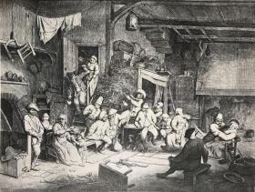 1877年感光制版铜版画《在旅馆中跳舞》—荷兰黄金时代风俗画画家阿德里安·范·奥斯塔德(Adriaen van Ostade,1610-1685年)作品 45.1*31.4厘米