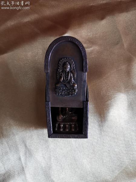 清 措金银精品佛龛小佛像