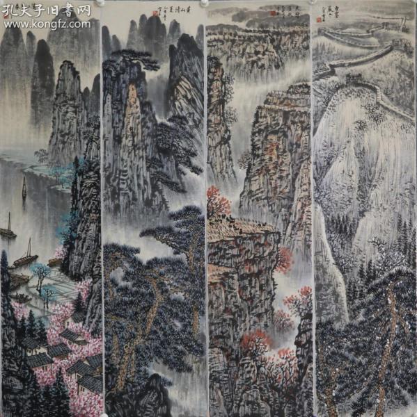 近现代著名山水画家 【白雪石】中央工艺美院任教,还兼北京山水画研究会会长。山水四条屏