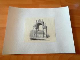 19世纪木刻版画《威斯敏斯特大教堂内的苏格兰玛丽女王陵墓,英格兰》(tomb of mary queen of scots,in the south aisle of henry vii 's chapel,westminster abbey)-- 后背纸张尺寸30*22.5厘米,版画纸张尺寸14.3*12.2厘米