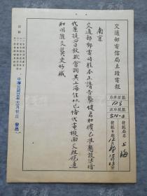 民国三十五年 上海 致南京程本正真迹电报一件(背面有文革时期政风运动小组记录)HXTX313023